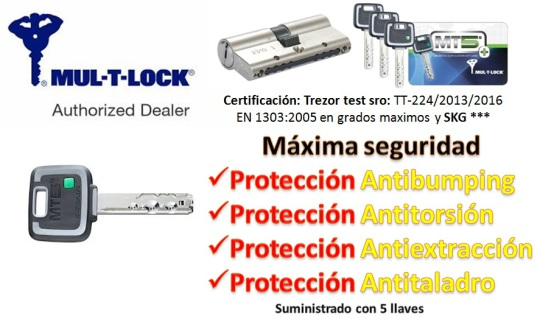 BOMBIN MUL-T-LOCK MT5+ REFORZADO Europerfil 62mm Latón